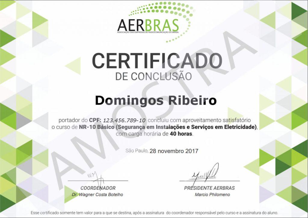 Amostra Certificado Aerbras